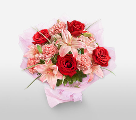Mothers Day Flowers-Pink,Red,Carnation,Lily,Rose,Bouquet