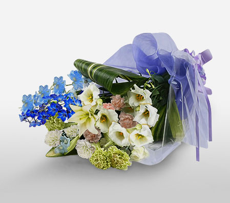 Debonair Selection-Blue,White,Carnation,Chrysanthemum,Lily,Basket