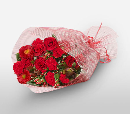 Red Passion <Br><span>Mixed Flowers Bouquet - Sale $20 Off</span>