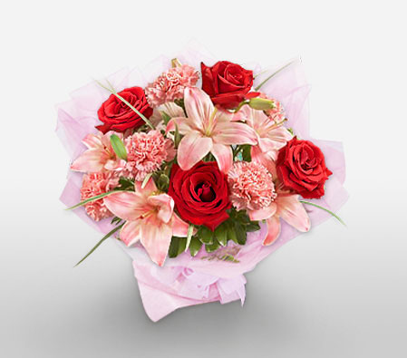 Splendid Colours-Pink,Red,Carnation,Lily,Rose,Bouquet