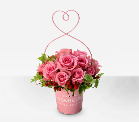 Momoiro Love <Br><span>Dozen Pink Roses in Basket - Sale $45 Off</span>